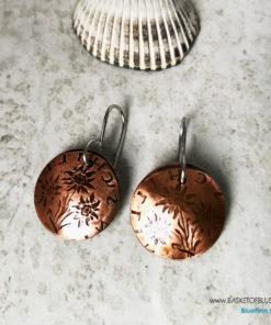 Copper coin Edelweiss Earrings