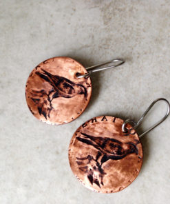 Falcon Earrings Hand Stamped Copper Coin