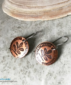 Coin Earring Hand Stamped Oak Seedling Motif