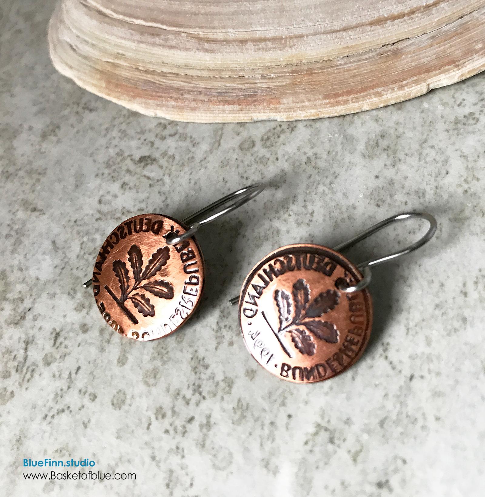 Coin Earring Hand Stamped Oak Seedling Motif