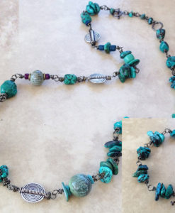 Long turquoise enamel bead necklace