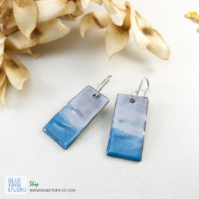 blue enameled copper wave earrings