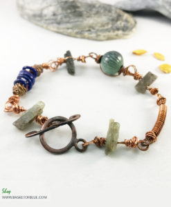 Rustic copper Kyanite Bracelet