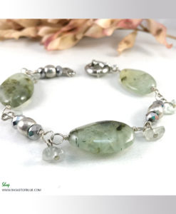 prehnite and silver bracelet