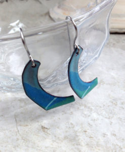 Blue Paddle Stripe Enamel Earrings