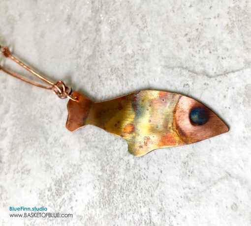 Copper fish Necklace Flame Painted