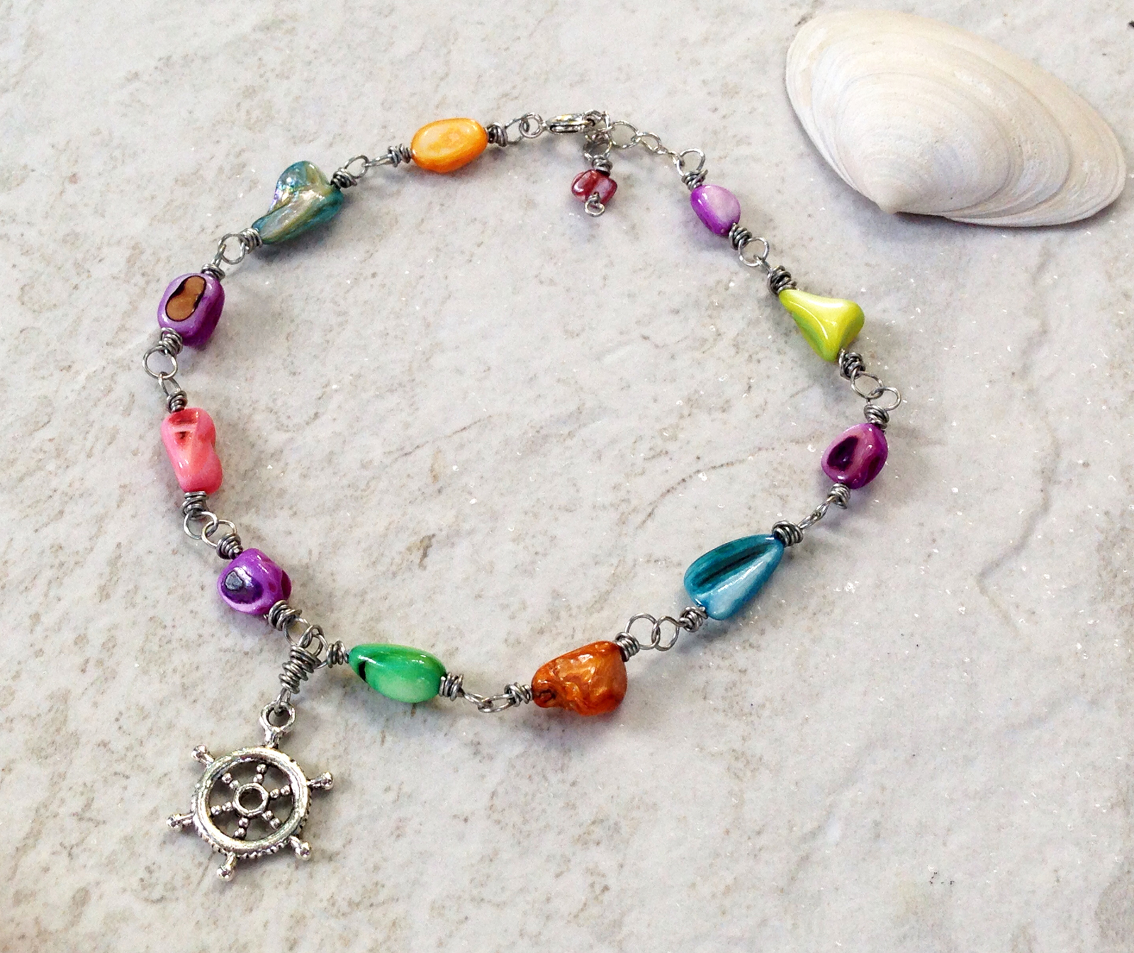 Anklet - Mother of Pearl with Ship's Wheel Charm