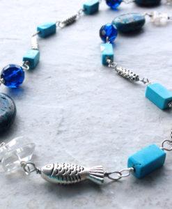 Blue Sky Jasper Long Blue Beach Necklace