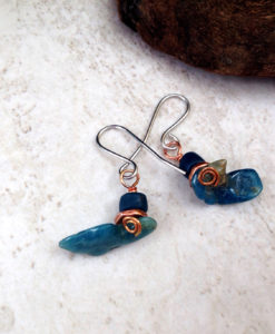 Blue Apatite Funky Dangle Earrings