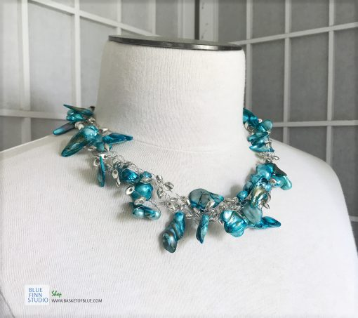 blue pearl necklace - three strand