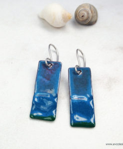 Blue Enameled Copper Geometric Wave Earrings