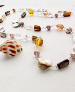 Long Brown Mother of Pearl Shell Quartz Necklace