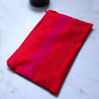 Red Marimekko Fabric Zip Pouch