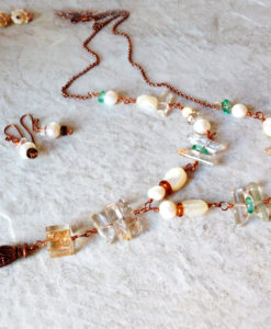 Long Pearl and copper Dangle Quartz Necklace