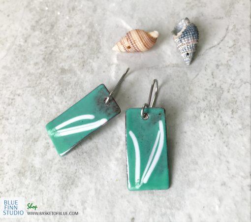 Green enamel art earrings