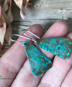 Green copper patina earrings
