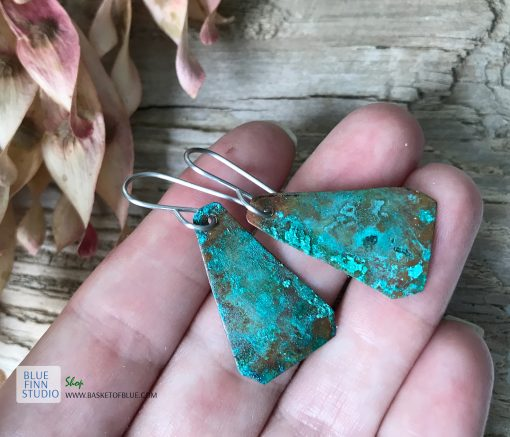 Green copper patina earrings