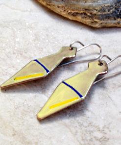 Yellow Enameled Copper Earrings Geometric Tie Blue Line