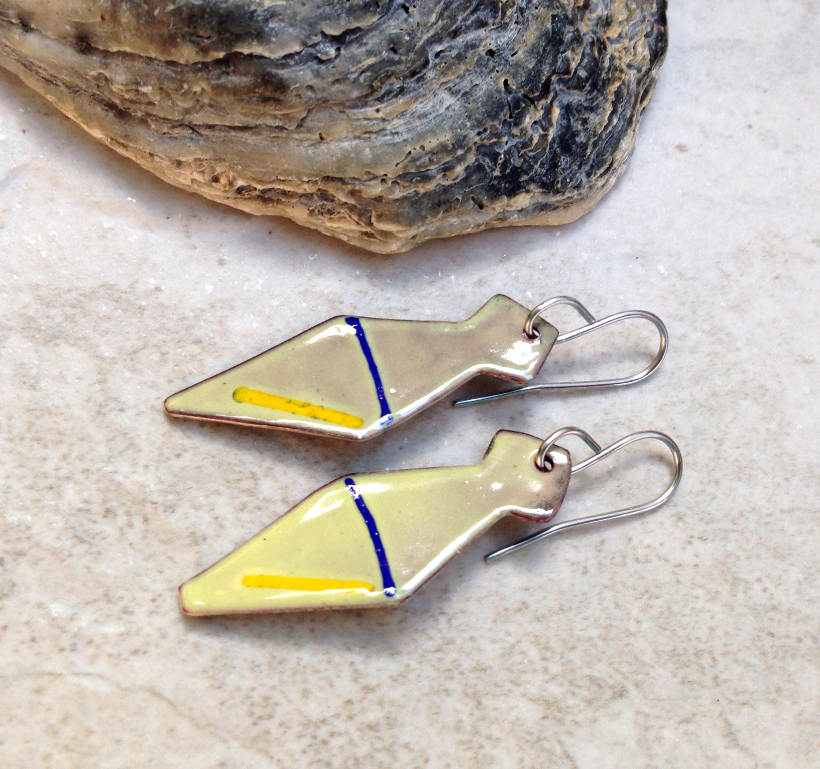 Yellow Enameled Copper Earrings Geometric Tie Blue Line