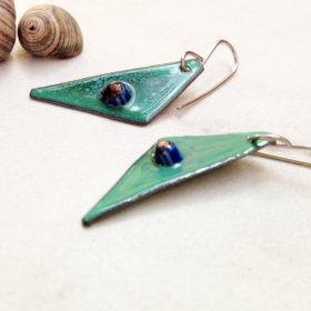 Murrini glass enamel earrings