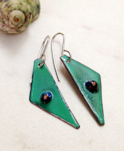 Murrini glass enamel earrings