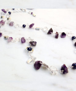 Long Purple Amethyst Bead Necklace