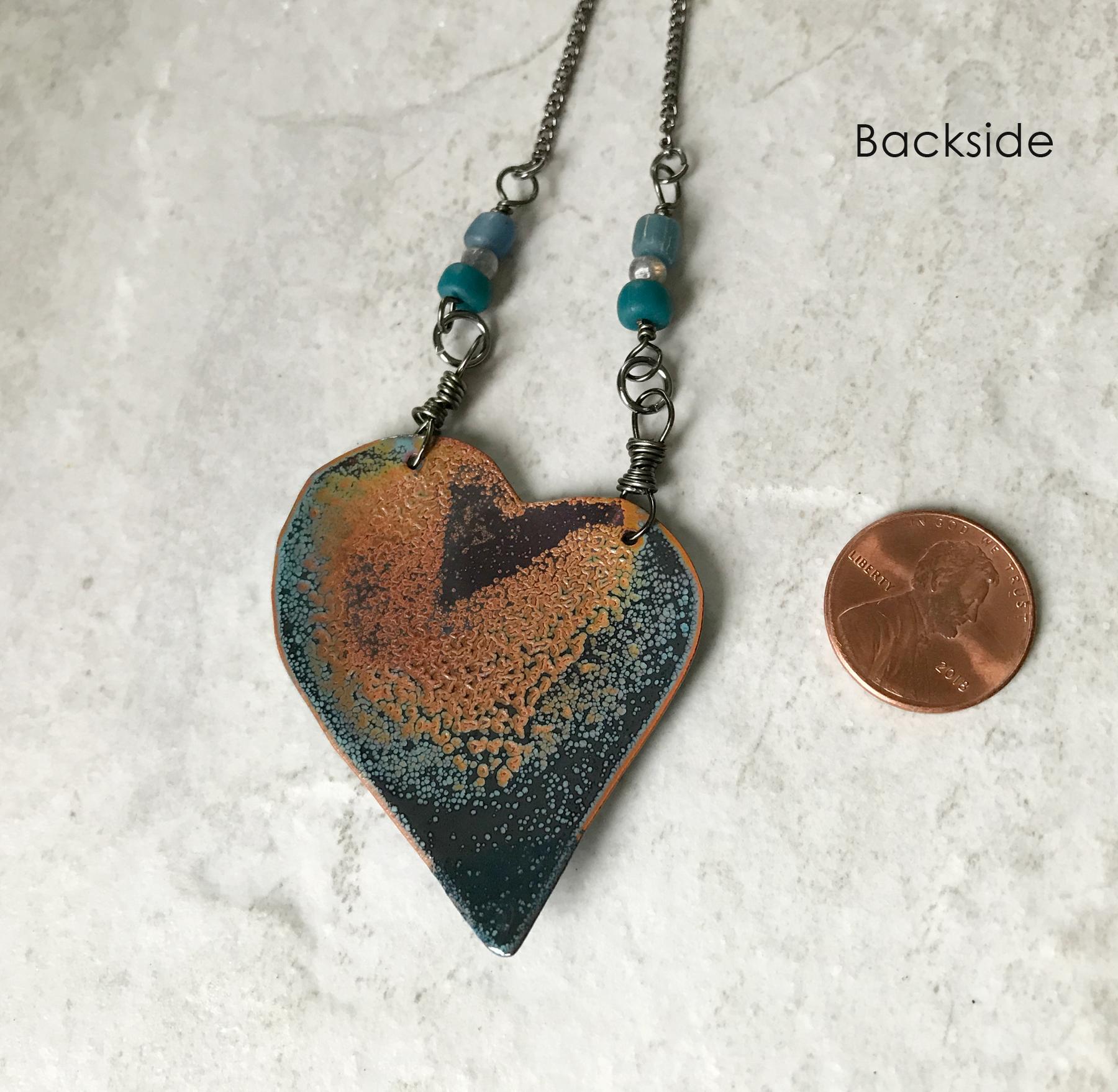 Blue enamel heart necklace