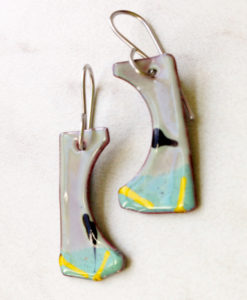 Painterly Blue Green Black Ink Dot Enamel Earrings