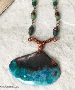 copper enamel shell necklace