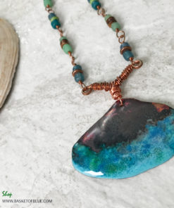 copper enamel shell necklace