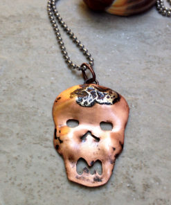 Copper Skull Necklace with Melted Sterling Silver