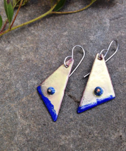 enameled copper yellow blue geometric earrings