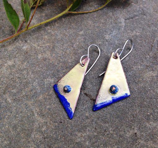 enameled copper yellow blue geometric earrings