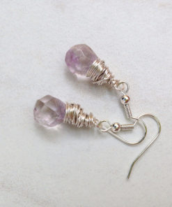 Amethyst Puffed Teardrop Earrings