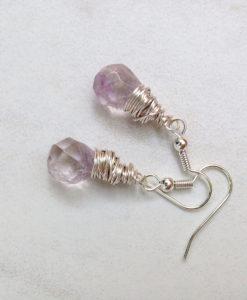 Amethyst Puffed Teardrop Earrings