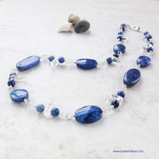 Blue Dumortierite Stone Bead Necklace