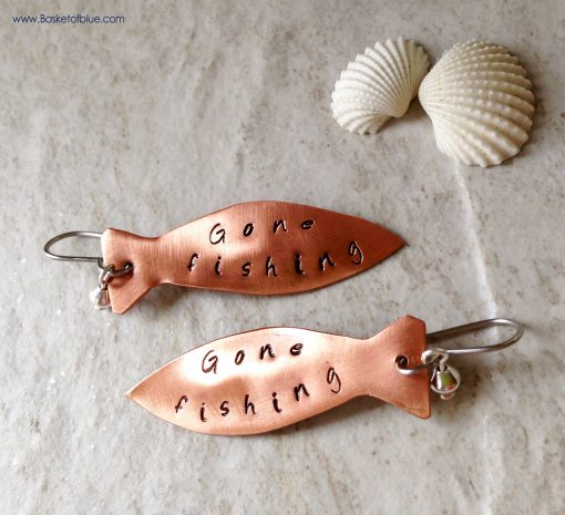 Copper Fish Gone Fishing Earrings