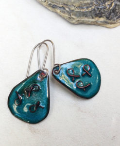 Sea Green Enamel Teardrop Earrings