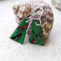 Green Painterly Multi Color Enameled Earrings
