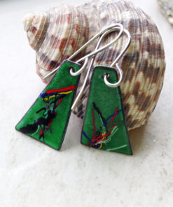 Green Painterly Multi Color Enameled Earrings