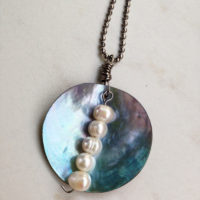 Mussel Shell Pearl Drop Necklace