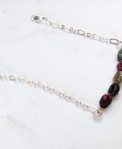 Tourmaline bar bracelet - tourmaline and silver simple stocking stuffer jewelry