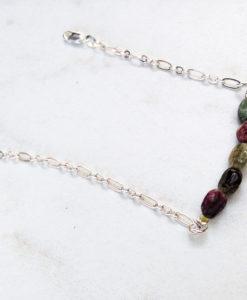 Tourmaline bar bracelet - tourmaline and silver simple stocking stuffer jewelry