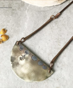 Rustic brass moon necklace