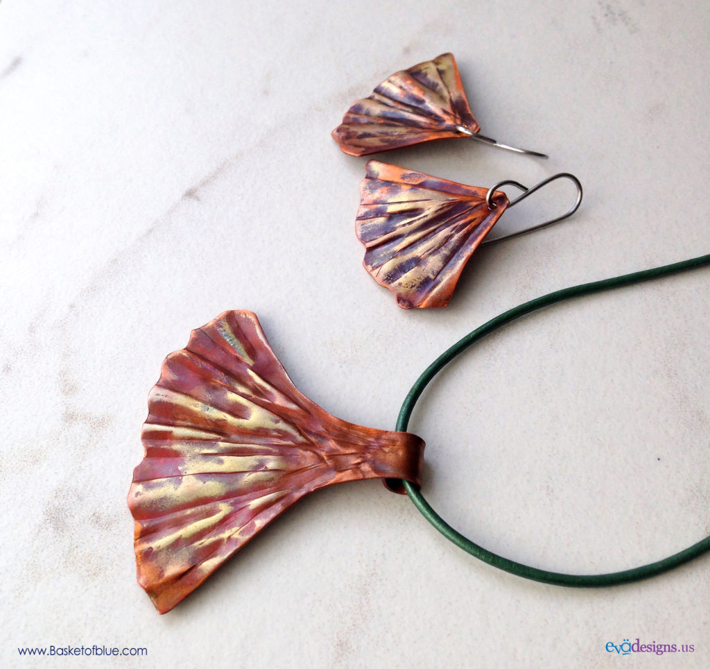 Ginkgo Jewelry Set - Gingko Leaf in copper
