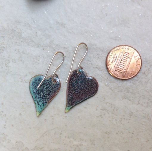 Enameled Green Heart Earrings