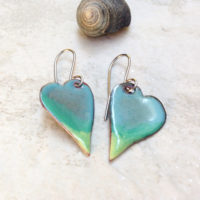 Enameled Aqua Green Heart Earrings