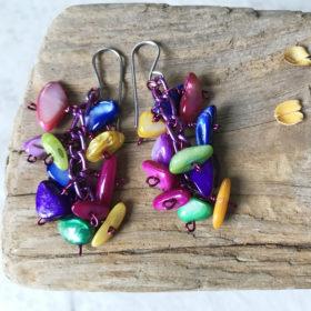 Mother of pearl cluster earrings