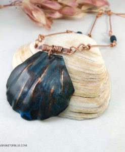 Blue clam shell necklace - blue copper patina