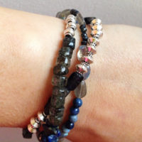 Blue Multi Gemstone Three Strand Bracelet